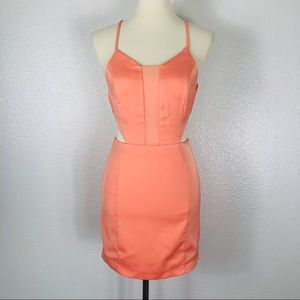 NBD Coral Mini Dress with Tie Back and Sheer Top